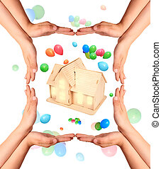 childrens hands gesture and house model collage