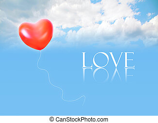 Coração, Amor, colagem, Inflável, céu, FORMA, palavra,...