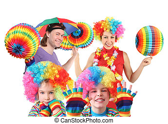 happy family with rainbow hat umbrella on head and colorfull...