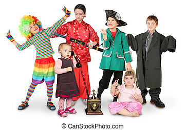 many children in costumes, clown, businessman, pirate,...