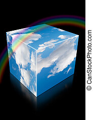 cloud sky cube with reflection and rainbow on black collage