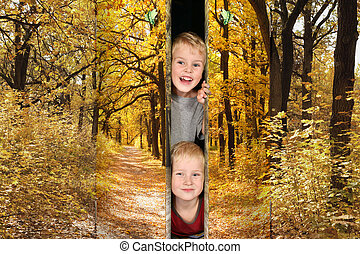two boys from Footpath among yellowed trees in autumnal park doors collage