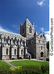 St Patricks Cathedral and green grass in Dublin, Ireland,...