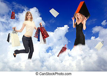 shopping females with bags on white clouds collage
