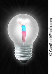 dancing power woman in Light bulb collage
