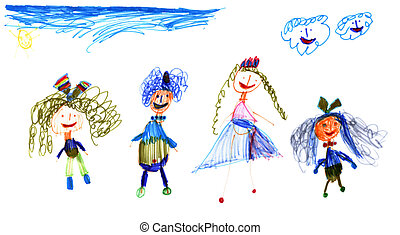 children with sky and sun real drawing of five year old...