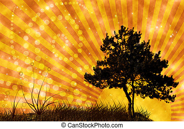 tree and grass on sunset sky collage