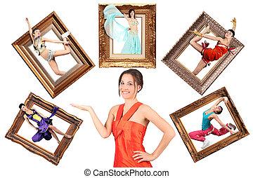 beauty girl in red dress showes multi task many women in...