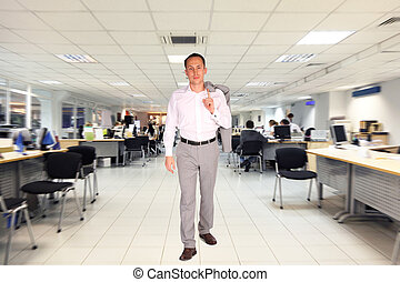 businessman walks in office with white floor and celling, people working on computers, collage