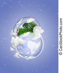 globe with trees, grass and rainbow on blue sky with moon collage