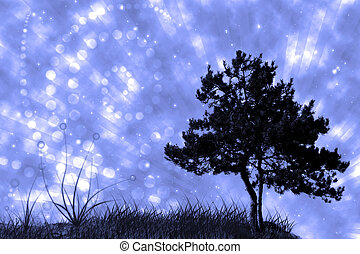 tree and grass on night sky collage