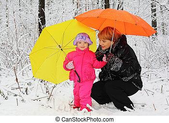 vó, Neta, amarela, laranja, guarda-chuva, ST