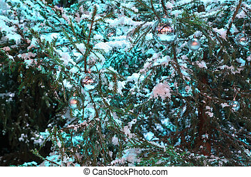 Snow covers green  tree branches and blue ball hung on branches