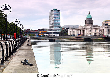 bridges near customs building, quay of river Liffey in...
