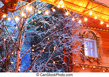 decorations - beautiful wooden house, lighting, snow on...