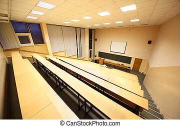 Large classroom, university lecture hall; big blackboard,...