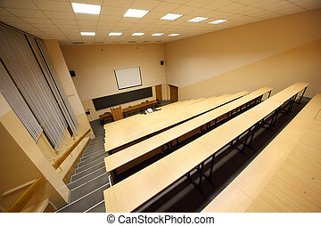 Classroom, university lecture hall; big blackboard, wooden...