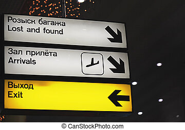 Information signs at the airport