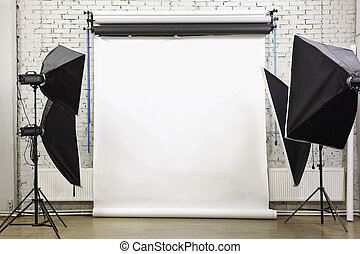 White background inside studio - light room with lamps and...