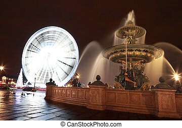 Fontaine des Mers, Christmas tree and a Ferris wheel at the...