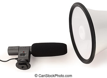 Handheld megaphone and big black microphone on white background