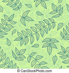 Green leaves seamless pattern. Vector background.
