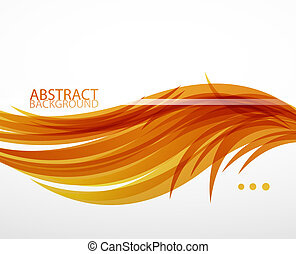 Abstract feather waves background - Orange feather wave...