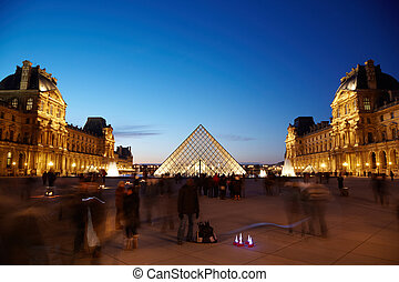 PARIS - JANUARY 1: View on the Louvre pyramid from the inner...