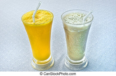 Two fresh tropical milkshakes served in Vietnam