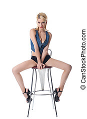 Beauty sexy woman posing on bar chair - Beauty sexy woman...