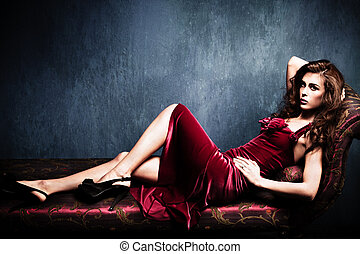 elegant sensual woman - sensual elegant young woman in red...