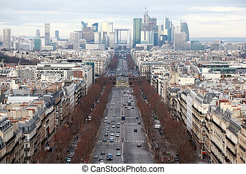 view of La Defense business quarter, Grand Armagh avenue at winter in Paris, France