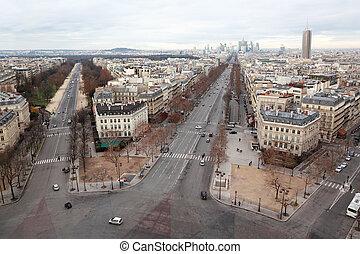 view from Arc de Triomphe on Bois de Boulogne and La Defense...