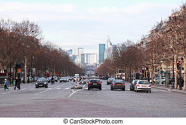 view of La Defense business quarter, cars on Grand Armagh avenue in Paris, France