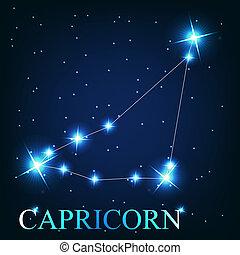 Wektor, koziorożec, zodiak, znak, piękny, Jasny, gwiazdy,...