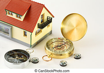 toy house with red roof and seven different compasses isolated on white