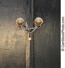 wooden door - Old wooden door with Chain key lock