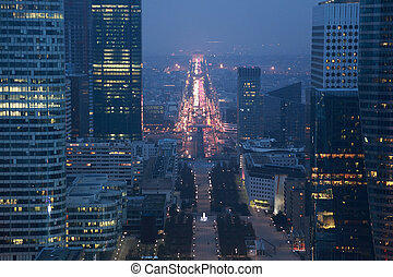 view of La Defense business quarter, Grand Armagh avenue and...
