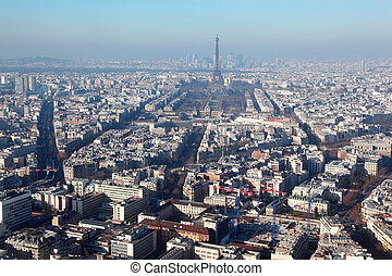 panorama of Paris with eiffel tower at winter, wide angle, France