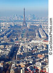 panorama of Paris with eiffel tower, la Defence at winter, France, vertical