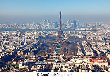 panorama of Paris with eiffel tower, la Defence at winter,...
