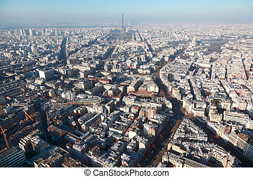 panorama of Paris with eiffel tower at winter, France, view from Montparnasse