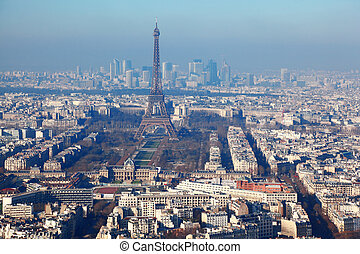 panorama of Paris with eiffel tower, la Defence at winter, France
