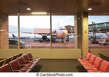 habitación, Windows, aviones, esperar, vacío, sillones,...