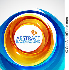 Blue and orange swirl background - Abstract vector blurred...