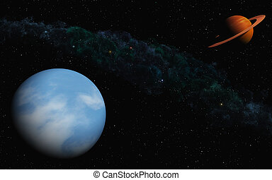 Waterplanet - This image shows planets with stars and a gas...