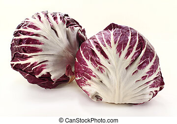 radicchio - two radicchio on a white background