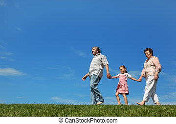 little girl and her grandparents walking on lawn and holding...