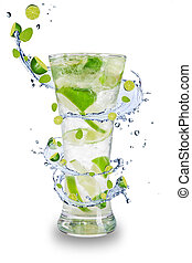 Fresh mojito drink with splash spiral around glass Isolated...