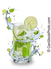 Fresh mojito drink with splash spiral around glass. Isolated...